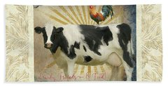 Beach Sheet featuring the painting Farm Fresh Damask Milk Cow Red Rooster Sunburst Family N Friends by Audrey Jeanne Roberts