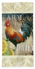 Beach Towel featuring the painting Farm Fresh Damask Red Rooster Sunflower by Audrey Jeanne Roberts