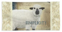 Beach Towel featuring the painting Farm Fresh Damask Sheep Lamb Simplicity Square by Audrey Jeanne Roberts