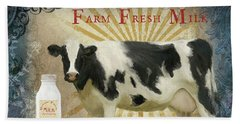 Beach Towel featuring the painting Farm Fresh Milk Vintage Style Typography Country Chic by Audrey Jeanne Roberts