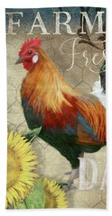 Beach Sheet featuring the painting Farm Fresh Red Rooster Sunflower Rustic Country by Audrey Jeanne Roberts