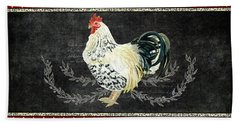 Beach Sheet featuring the painting Farm Fresh Rooster 3 - On Chalkboard W Diamond Pattern Border by Audrey Jeanne Roberts