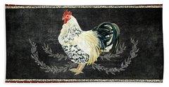 Farm Fresh Rooster 3 - On Chalkboard W Diamond Pattern Border Beach Sheet by Audrey Jeanne Roberts