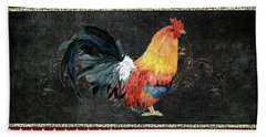 Beach Sheet featuring the painting Farm Fresh Rooster 4 - On Chalkboard W Diamond Pattern Border by Audrey Jeanne Roberts