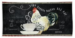 Beach Towel featuring the painting Farm Fresh Rooster 5 - Coffee Served Chalkboard Cappuccino Cafe Latte  by Audrey Jeanne Roberts