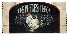 Beach Towel featuring the painting Farm Fresh Roosters 1 - Fresh Eggs Typography by Audrey Jeanne Roberts