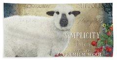 Beach Sheet featuring the painting Farm Fresh Sheep Lamb Wool Farmhouse Chic  by Audrey Jeanne Roberts