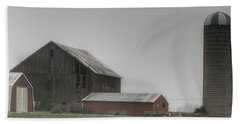 0011 - Farm In The Fog II Beach Towel