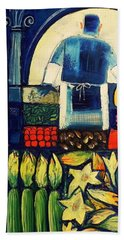Beach Towel featuring the painting Farm Market   by Mikhail Zarovny
