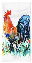Beach Towel featuring the painting Farm Rooster by Zaira Dzhaubaeva