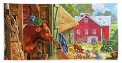 Farm Scene In America Beach Towel
