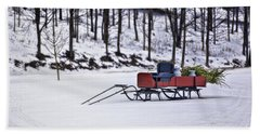 Farm Sleigh Beach Towel by Nicki McManus