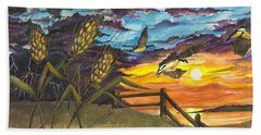 Farm Sunset Beach Towel