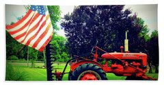 Farmall And Flag Beach Sheet