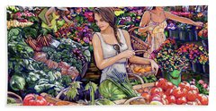 Beach Towel featuring the painting Farmer Market H by Tim Gilliland