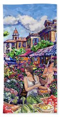 Beach Towel featuring the painting Farmer Market by Tim Gilliland
