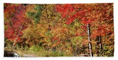 Beach Towel featuring the photograph Farmers Path Of Fall Colors by Jeff Folger