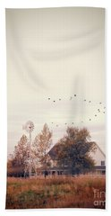Farmhouse And Windmill Beach Towel by Jill Battaglia