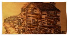 Beach Sheet featuring the pyrography Farmhouse by Denise Tomasura