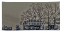 Farmhouse In Morning Fog Beach Towel by Sandy Moulder