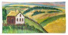 Beach Sheet featuring the painting Farmhouse On A Hill by Diane Pape