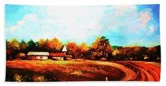Farmland In Autumn Beach Towel