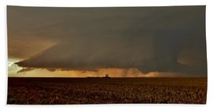 Beach Towel featuring the photograph Farmland Supercell by Ed Sweeney