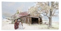 Beach Towel featuring the photograph Farmstyle Snowman by Mary Timman