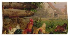 Farmyard Chickens Beach Sheet by Carl Jutz
