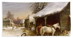 Farmyard In Winter  Beach Towel by Henry Woollett