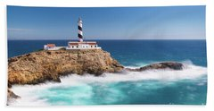 Beach Towel featuring the photograph Faro Cala Figuera by Hans- Juergen Leschmann