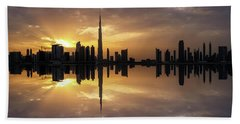 Fascinating Reflection In Business Bay District During Dramatic Sunset. Dubai, United Arab Emirates. Beach Towel