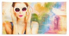 Fashion Art Pinup Woman Beach Towel