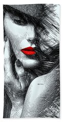 Beach Sheet featuring the digital art Fashion Flair In Black And White by Rafael Salazar
