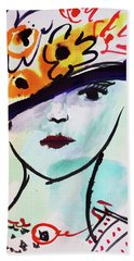 Fashion, Vintage Hat With Flowers Beach Towel