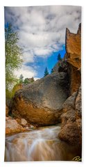 Beach Towel featuring the photograph Fast-flowing Crazy Woman by Rikk Flohr