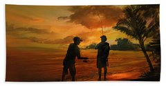 Father And Son Fishing Beach Towel by Rob Corsetti