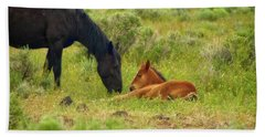 Father And Son Horse Love Beach Towel