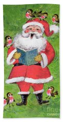 Father Christmas And Robin Chorus Beach Towel