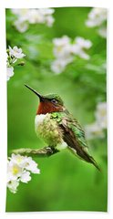 Fauna And Flora - Hummingbird With Flowers Beach Sheet by Christina Rollo