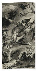 Faust And Mephistopheles On The Blocksberg Beach Towel