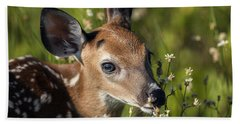 Fawn In Wildflowers Beach Sheet