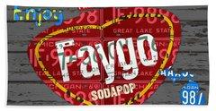 Faygo Soda Pop Recycled Vintage Michigan License Plate Art On Gray Distressed Barn Wood Beach Towel