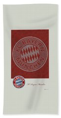 Fc Bayern Munich Logo And 3d Badge Beach Towel by Serge Averbukh