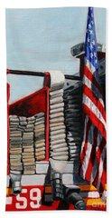 Fdny Engine 59 American Flag Beach Towel