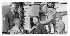 Beach Towel featuring the photograph Fdr Presenting Medal Of Honor To William Wilbur by War Is Hell Store
