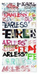 Beach Towel featuring the mixed media Fearless by Carolyn Weltman