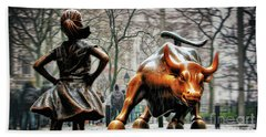 Fearless Girl And Wall Street Bull Statues Beach Towel