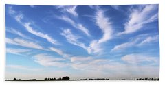 Beach Towel featuring the photograph Feathers In Blue Sky by Yumi Johnson
