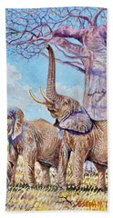 Feeding Elephants Beach Towel